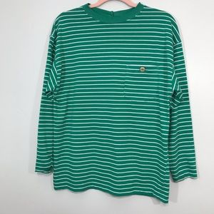 Vintage | Striped Long Sleeve Button Down Back Top